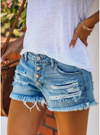 Pockets Shirred Ripped Casual Sexy Shorts Denim & Jeans