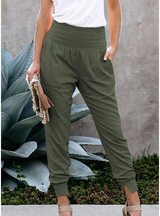 Solid Pockets Shirred Casual Solid Sporty Pants