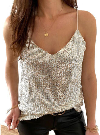 Solid Sequins Spaghetti Straps Sleeveless Tank Tops