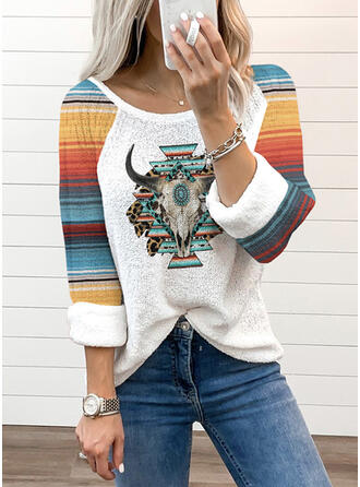 Color Block Print Animal Round Neck Long Sleeves T-shirts