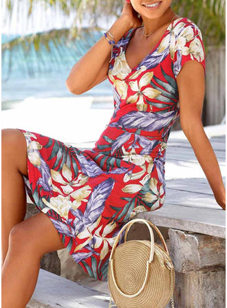 Print/Floral Short Sleeves Sheath Knee Length Casual/Vacation Dresses