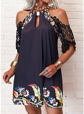 Lace/Print/Floral 1/2 Sleeves Shift Above Knee Casual Tunic Dresses