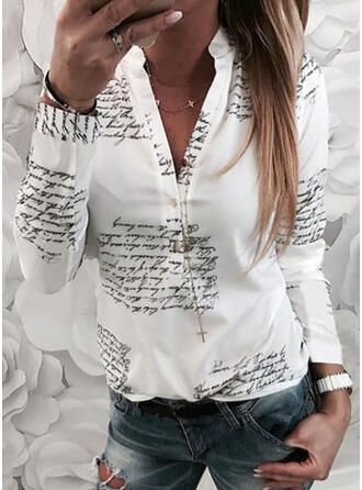 Print Letter V-Neck Long Sleeves Button Up Casual Shirt Blouses