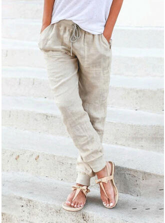 Solid Plus Size Casual Long Solid Lounge Pants