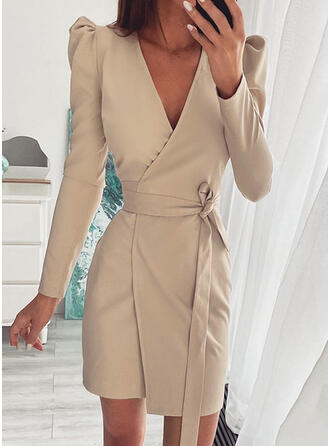 Solid Long Sleeves Puff Sleeve Sheath Above Knee Casual Wrap Dresses