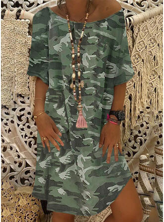 Print/Camouflage 1/2 Sleeves Shift Knee Length Casual/Vacation T-shirt Dresses