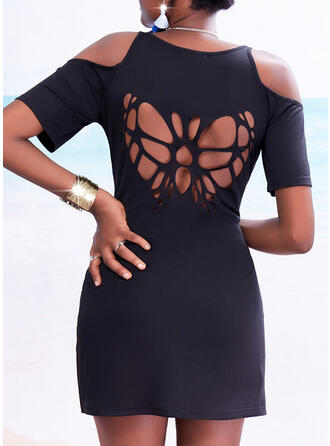 Solid/Backless/Hollow-out Short Sleeves Sheath Above Knee Little Black/Casual/Vacation Dresses