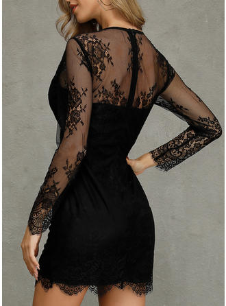 Lace/Solid Long Sleeves Sheath Above Knee Sexy/Party Dresses