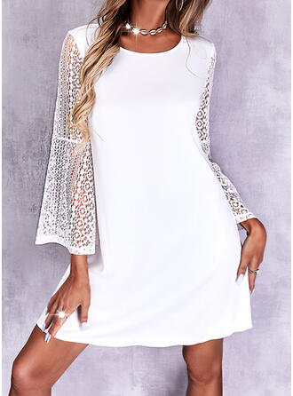 Solid Lace Long Sleeves Flare Sleeve Shift Above Knee Elegant Dresses