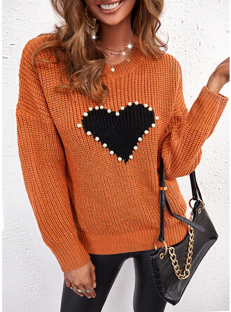 Print Heart Round Neck Casual Sweaters
