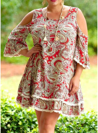 Plus Size Print 3/4 Sleeves Flare Sleeve Shift Knee Length Casual Dress
