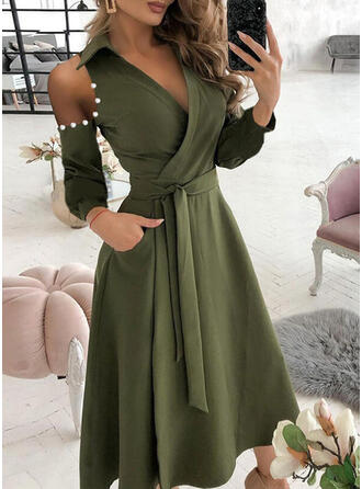 Solid Long Sleeves Cold Shoulder Sleeve A-line Wrap/Skater Casual Midi Dresses