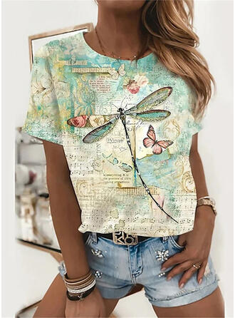 Floral Print Letter Round Neck Short Sleeves Tank Tops
