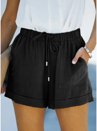 Solid Linen Above Knee Casual Vacation Plus Size Pocket Drawstring Pants Shorts