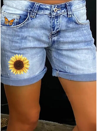 Print Pockets Shirred Plus Size Casual Sexy Floral Denim Shorts
