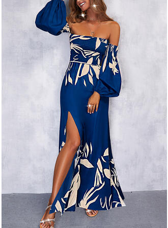 Print Long Sleeves A-line Skater Vacation Maxi Dresses