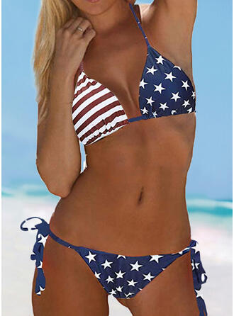 Flag Knotted Halter V-Neck Sexy Casual Bikinis Swimsuits