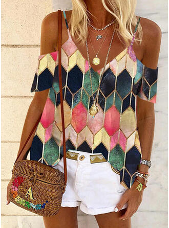 Geometric Print Cold Shoulder Short Sleeves Casual Blouses