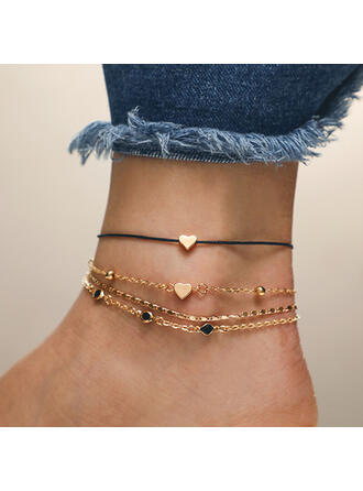 Stylish Alloy With Heart Women's Anklets 4 PCS
