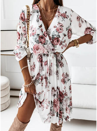 Print/Floral Long Sleeves A-line Knee Length Casual Wrap/Skater Dresses