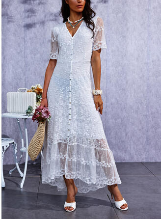 Solid Lace Short Sleeves A-line Skater Casual Midi Dresses