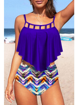 Hollow Out Geometric Strap U-Neck Casual Tankinis Swimsuits