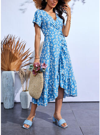 Print/Floral Short Sleeves A-line Wrap/Skater Casual Midi Dresses