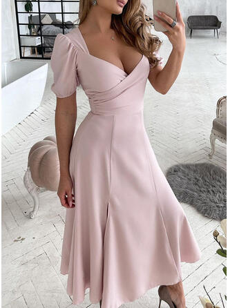 Solid/Backless Short Sleeves/Puff Sleeves A-line Skater Elegant Maxi Dresses