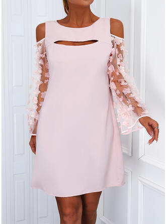 Solid Lace Long Sleeves Cold Shoulder Sleeve Shift Above Knee Casual Tunic Dresses