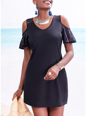 Lace/Solid Short Sleeves Sheath Above Knee Little Black/Casual Dresses