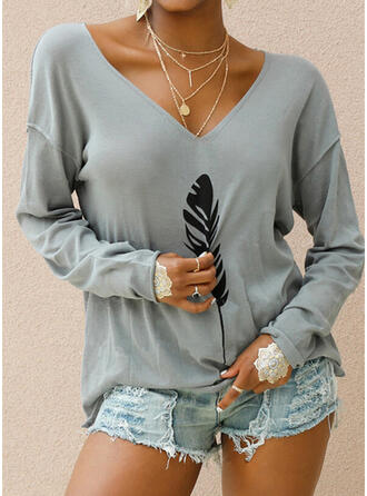 Print Feather V-Neck Long Sleeves T-shirts