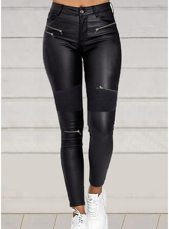 Solid Patchwork Plus Size Sexy Leather Vintage Pants