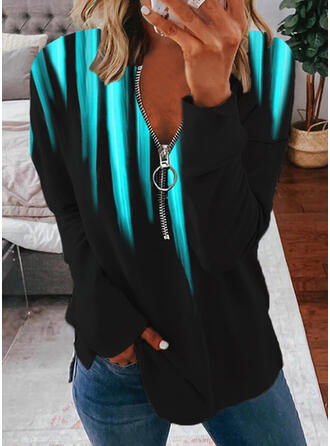 Gradient V-Neck Long Sleeves T-shirts