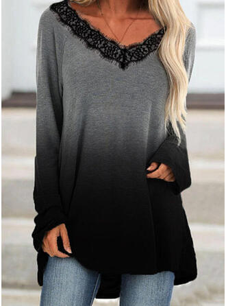 Gradient Lace V-Neck Long Sleeves T-shirts