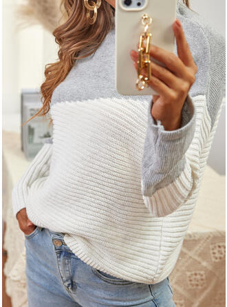 Print Color Block High Neck Casual Sweaters