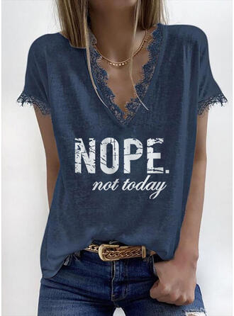 Print Lace Letter V-Neck Short Sleeves Casual Blouses