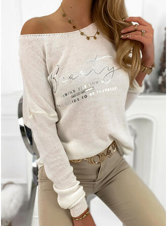 Print Round Neck Casual Sweaters