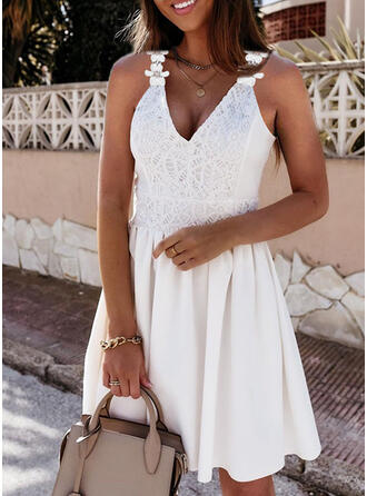 Lace/Floral/Solid Sleeveless A-line Above Knee Casual Skater Dresses