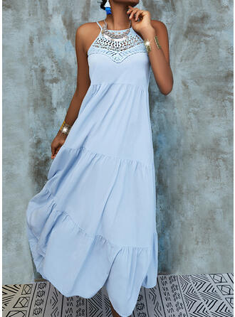 Lace/Solid/Backless Sleeveless Shift Slip Casual/Vacation Midi Dresses