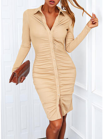 Solid Long Sleeves Bodycon Above Knee Casual T-shirt Dresses