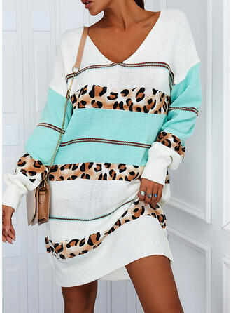 Color Block/Leopard Long Sleeves Casual Dresses