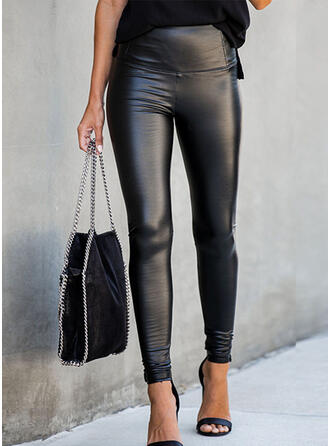 Solid Shirred Sexy Skinny Leather Pants Leggings
