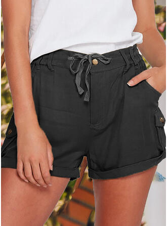 Solid Plus Size Casual Vintage Shorts