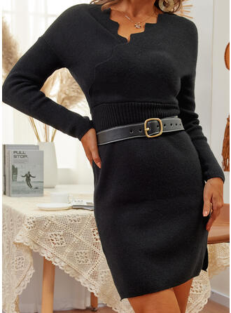 Solid Long Sleeves Casual Dresses