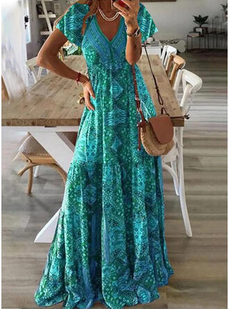 Print Short Sleeves A-line Skater Casual Maxi Dresses