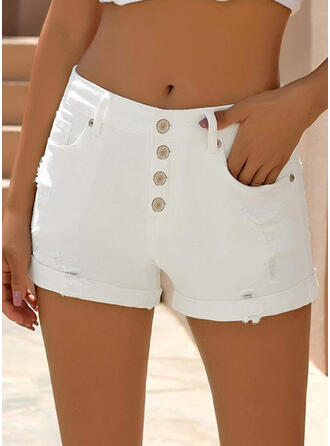 Solid Ripped Solid Denim Shorts Denim & Jeans