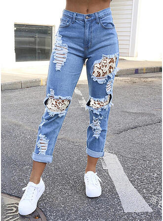 Solid Denim Lace Cropped Casual Vacation Plus Size Pocket Ripped Button Denim & Jeans