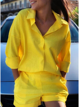 Solid Pockets Plus Size Casual Sporty Suits