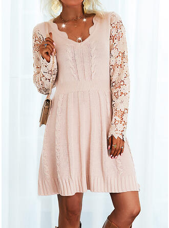 Solid Lace Long Sleeves A-line Above Knee Elegant Sweater Dresses