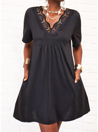 Lace/Solid Short Sleeves Shift Knee Length Little Black/Casual Tunic Dresses